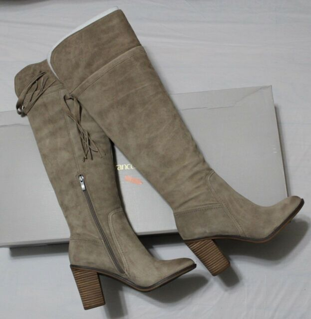 008ec2b1067  225 FRANCO SARTO ELLYN TAUPE SUEDE OVER THE KNEE BOOT US 10M