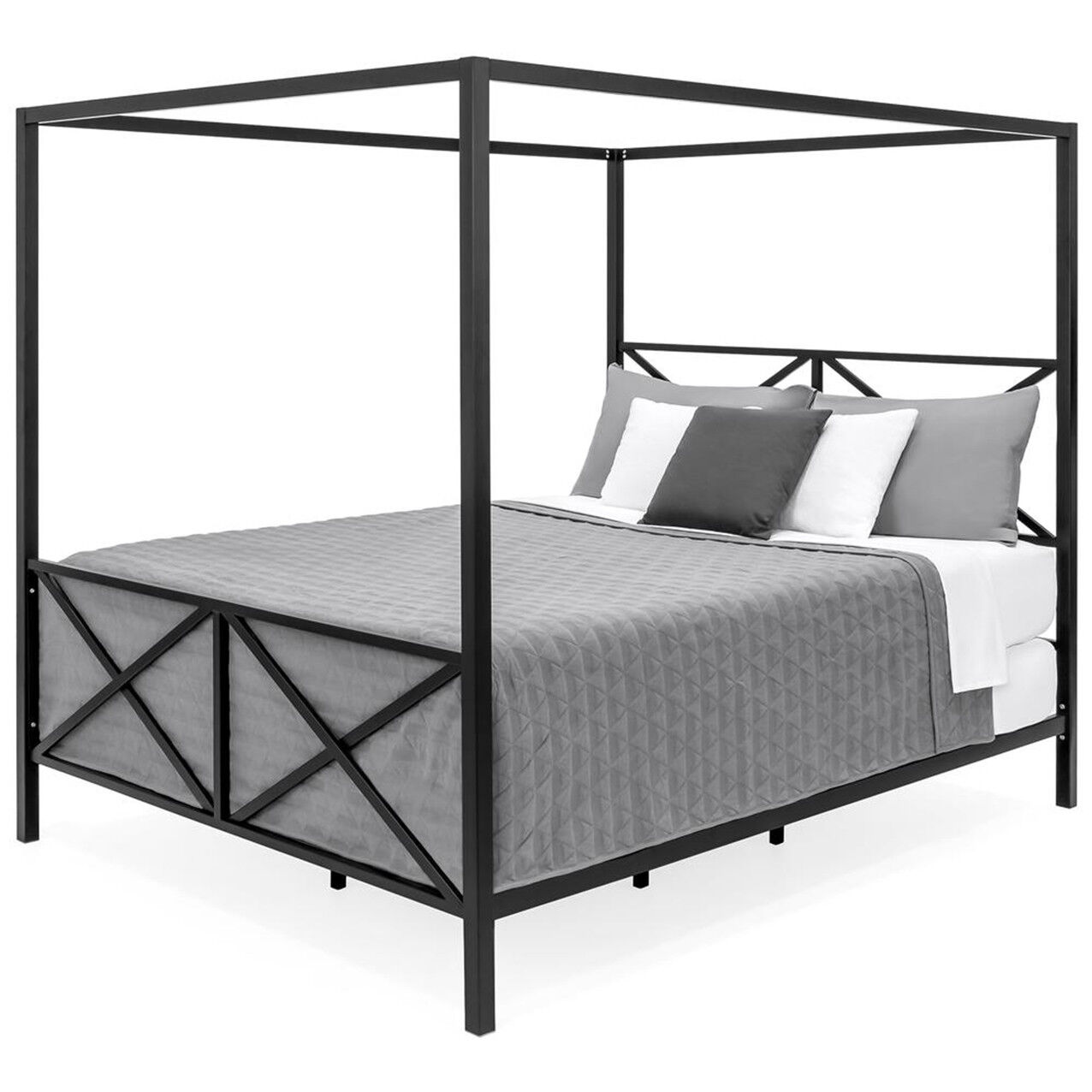 - Queen Canopy Bed Frame Black Metal Finish Slat Base Modern Bedroom