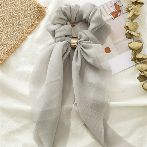 Solid Hair Bow Double Deck Streamers Hair Ring Fashion Women Girl/'s Scrunchies
