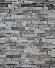 Tapete Steine Steinoptik Klinker Bruchsteine Steintapete schwarz grau 05546-30