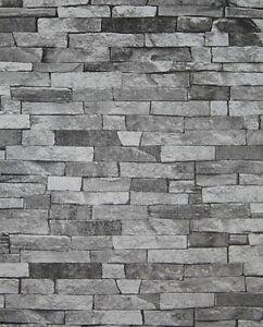 tapete steine steinoptik klinker bruchsteine steintapete schwarz grau 05546 30 ebay. Black Bedroom Furniture Sets. Home Design Ideas
