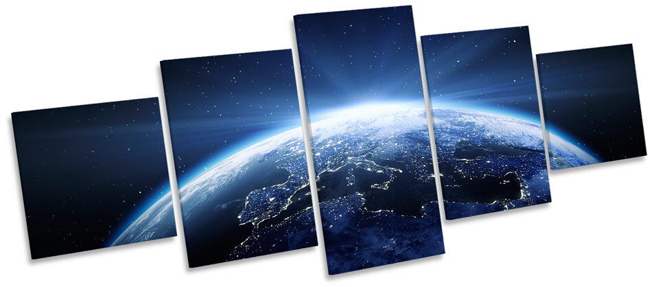 Planet Earth Space Astronomy CANVAS WALL ART Five Panel Print Picture