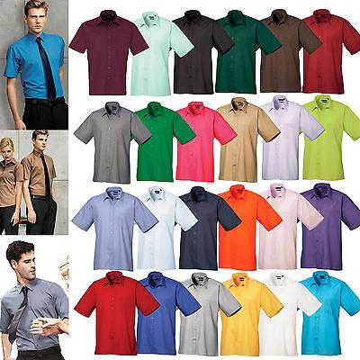 "Kustom Kit KK100 Mens Workforce Poplin Short Sleeve Shirt Sky Blue 16-16.5/"""