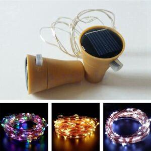 10 LED Solar Wine Bottle Cork Stopper String Lights Fairy Party Xmas Lamps TW