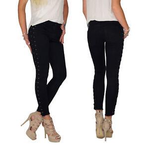 Damen Röhren Skinny Slim Fit Denim Jeans Schwarz Hüft Stretch Hose