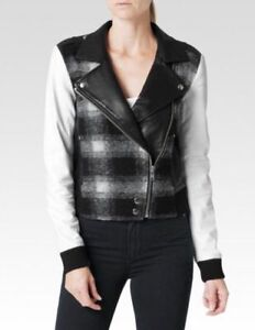 898 Plaid Blend Nwt Denim S Moto White Wool Paige Sz Leather Jacket Shelley qwX4cvZ
