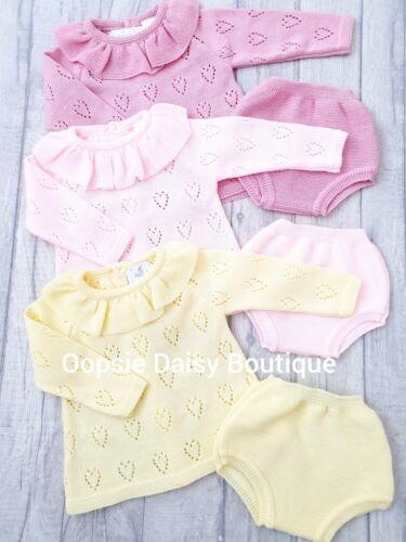 Baby Girls Lemon Pink /& Dusky Spanish Knitted Frill Collar Jam Suits ☆