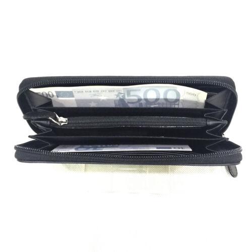 En Cuir Noir Femme Porte monnaie Zip Wallet 10108 Large Piero Classic Guidi wulOkZTPXi