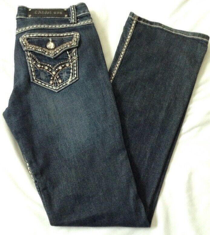 LA Idol Womens Jeans Dark bluee Distressed Low Rise Bling Embellishments Sz 11
