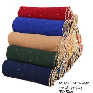Muslim-Women-Chiffon-Crystal-Scarf-Scarves-Hijab-Shawl-Arab-Stole-Wrap-180-75-cm
