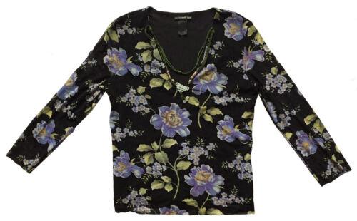 VIVIENNE TAM Sz 3 (M/ 6-8) Black Floral Nylon Mesh