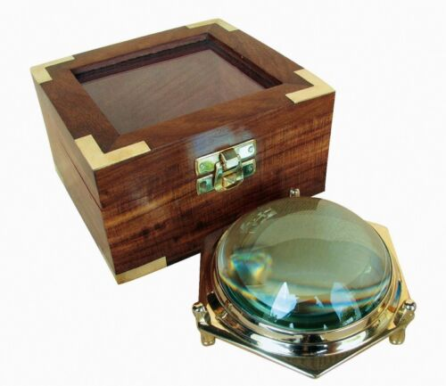Maritime Dom Lupe XXL Messinggestell in Holz Box Karten-Lupe Lesehilfe sc-9294