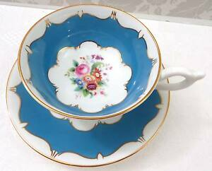 Coaport English Bone China Tea Cup & Saucer Fancy Turquoise Blue Gold Floral