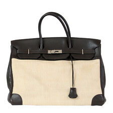 38485 auth HERMES Chocolate brown Togo leather & CRINOLINE 40cm BIRKIN Bag