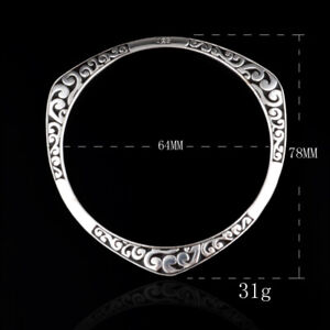 925-Sterling-Solid-Silver-Bangle-Bracelets-For-Women-Lovers-Jewelry-Gifts