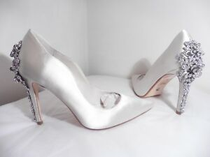 "de Taille Pale Diamante mariée 5 ""be Neuf Wedd Ivory Pearl Chaussures Dune Satin vX48xEvw"