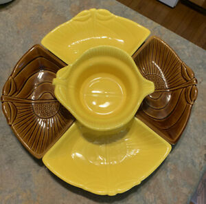 Vintage Two Part Pottery Dish Calif USA