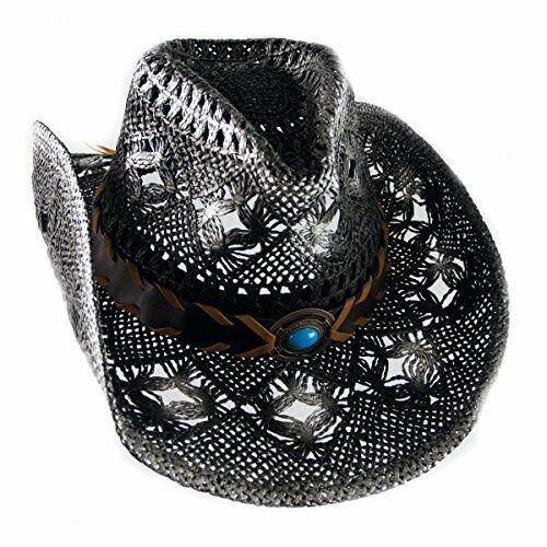 Cowboyhut Strohhut Westernhut Hut mit Hutband schwarz/weiß geflammt