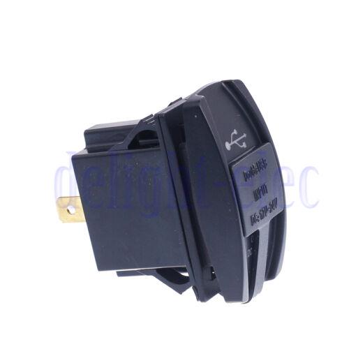 12-24V 3.1A Car Motorcycle Auto Truck Boat Shape Dual USB Charger Socket Plug DE