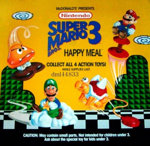MIP 1990 McDonalds Super Mario Bros. Mint Complete Set Lot 4, 3+