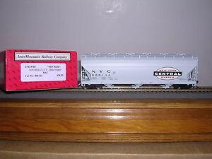 """INTER.#47019 N.Y.C.""""Gray"""" ACF 4650 Cu.Ft.3-Bay Covered Hopper Car w/2 #s H.O.Ga"""