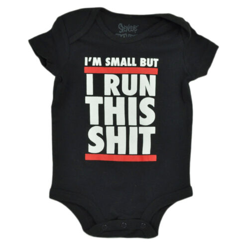 Im Small But I Run This Sh*t Bodysuit Funny Creeper Black Infant Baby
