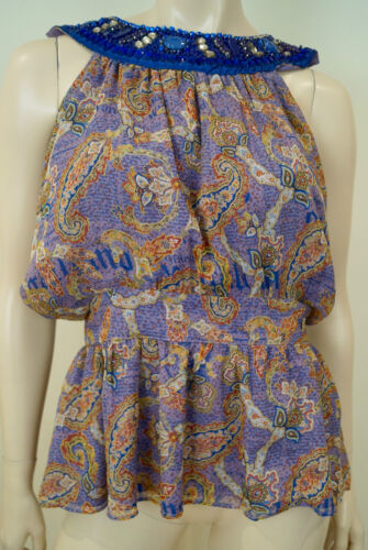 Bnwt Top Galliano Blue Multi Blouse Sleeveless Neck Print Lilac Sequin Silk gAwqpZ