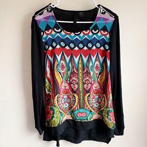Desigual-Boho-Colorful-Printed-Zipper-Shoulder-Long-Sleeve-Top-Blouse-Medium