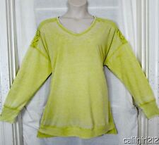 French Laundry Warm Olive Lace Back Shoulders Distressed Look LONGER Top 2X NWT