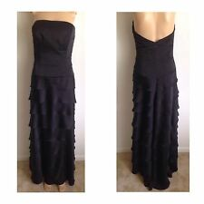 VTG Long Black Ruffled Tiered Evening Strapless Dress 4 Cocktail Maxi SM Salsa