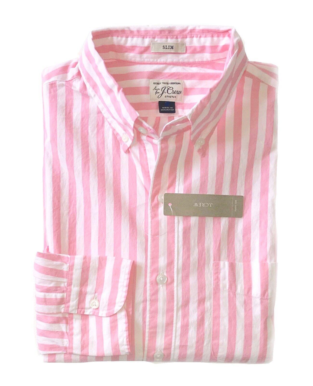J.Crew - Mens XXL - Slim Fit - NWT - Pink White Striped Secret Wash Cotton Shirt