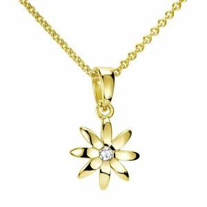 MATERIA-Damen-Blumen-Kette-Gold-375-Goldkette-mit-Zirkonia-Anhaenger-Bluete