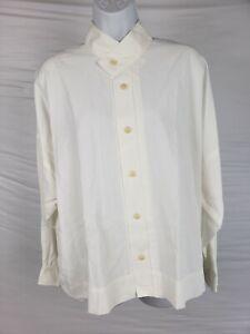 NWT-715-Shirin-Guild-Women-039-s-White-Button-Down-Shirt-Peasant-Sz-S-Flusso