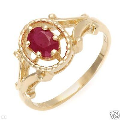 .60 ctw Ruby Solitaire Ring 10K yellow gold Sz 6.25