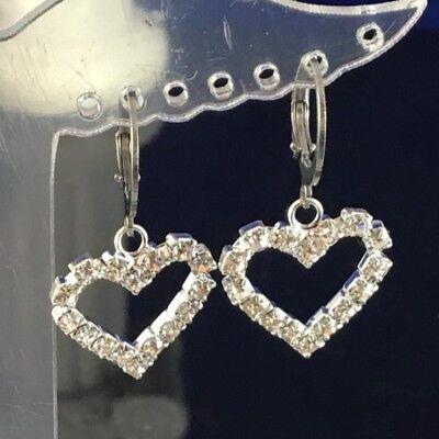Small Clear diamante crystal heart Stainless Steel Sleeper Hoop Huggie Earring.