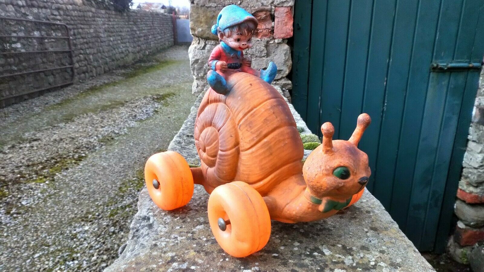 Irish Leprechaun On A Snail Vintage Squeeze Working Toy