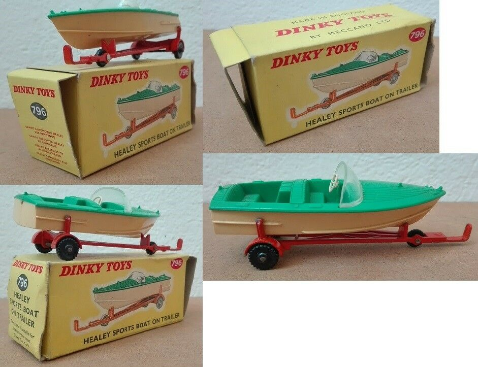 Dinky Toys 796 Healey Sports Boat on Trailer die cast 1 43 verde