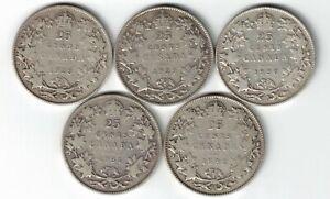 5-X-CANADA-TWENTY-FIVE-CENTS-QUARTERS-KING-GEORGE-V-800-SILVER-COINS-1928-1932