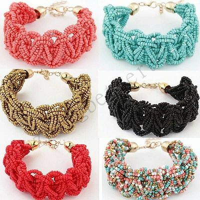 Vintage Colorful Bohemia Seed Beads Adjustable Charms Wrap Cuff Bracelet Bangle