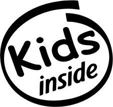 "Kids Inside Car Window Decor Vinyl Decal Sticker- 6"" Wide White"