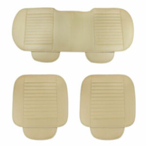 3Pcs-Set-PU-Leather-Car-Front-Rear-Back-Seat-Beige-Cover-Protector-Cushion-Pad