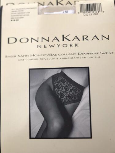 Donna Karan Hosiery Black Sheer Satin Lace Control Top Pantyhose US Small