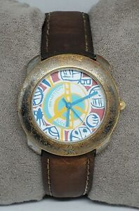 Vintage Unisex Benetton By Bulova Designer Blue Yellow Dail Analog Watch B1