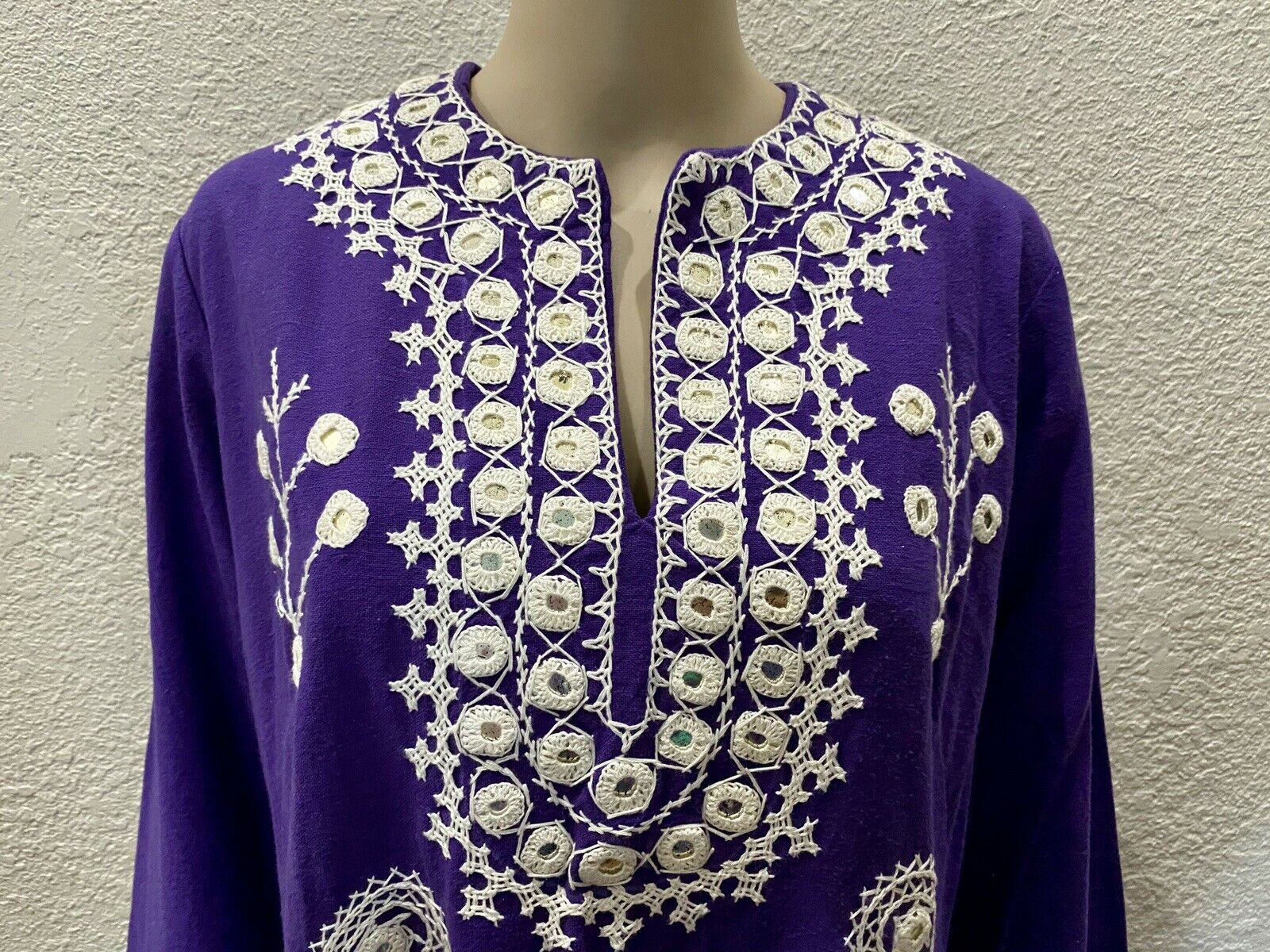 Ramona Rull Purple Cotton MIRROR Embroidery 60s B… - image 2