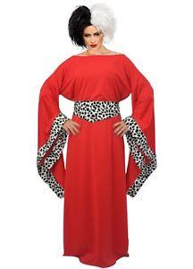 Ladies-Red-Cruella-De-Ville-Costume-101-Dalmatians-Halloween-Fancy-Dress