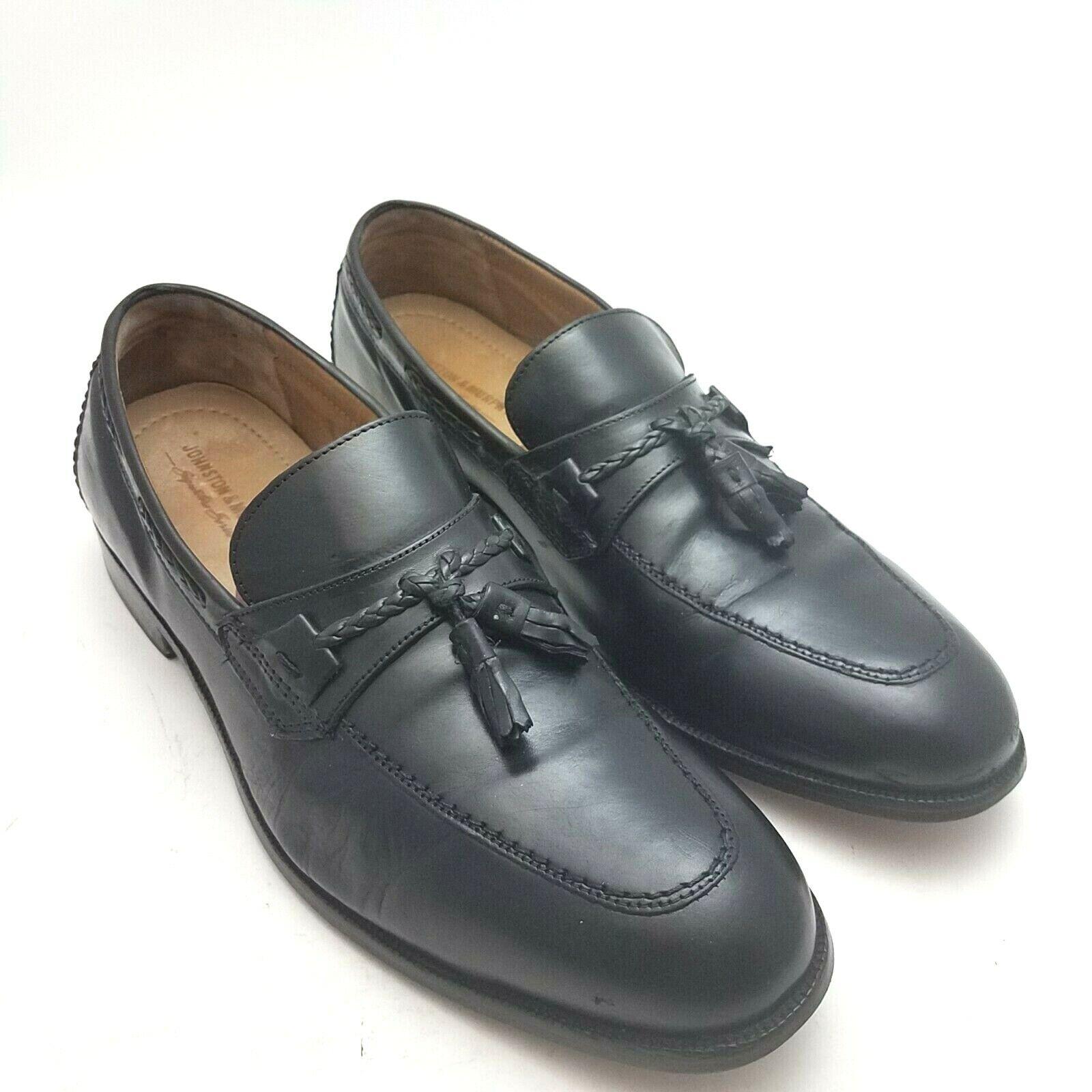 Johnston Murphy Mens Signature Series Loafers Sz 10.5 Black Tassel Dress Shoes