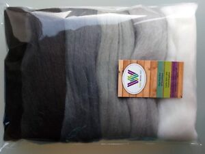 Grey-set-Pure-Wool-Tops-for-felting-6-colours-white-grey-black-pack-of-60-g