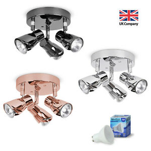 Modern-3-Way-LED-GU10-Ceiling-Spot-Lights-Spotlights-Black-Chrome-Copper-Grey