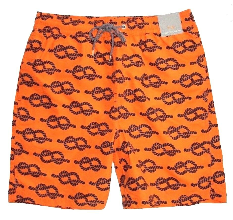 Thomas Dean - Mens XL - NWT - orange & Navy bluee Knot Print Swim Trunk Shorts