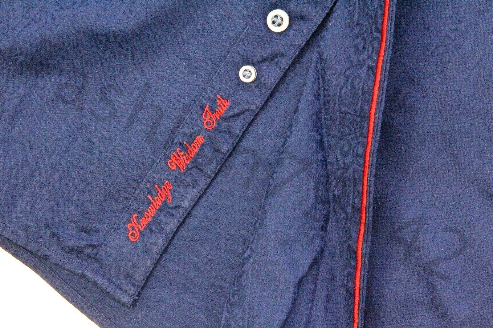 ROBERT GRAHAM - Shirt Men's XL bluee Geometric Fabric Red Trim Embroidery Cuff